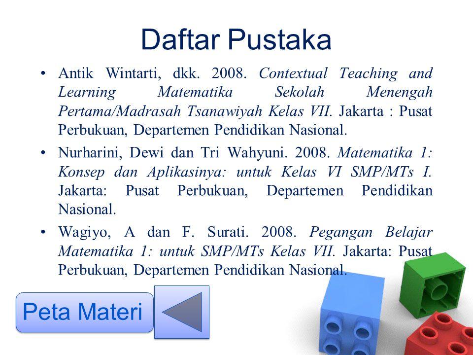 Daftar Pustaka •Antik Wintarti, dkk. 2008. Contextual Teaching and Learning Matematika Sekolah Menengah Pertama/Madrasah Tsanawiyah Kelas VII. Jakarta