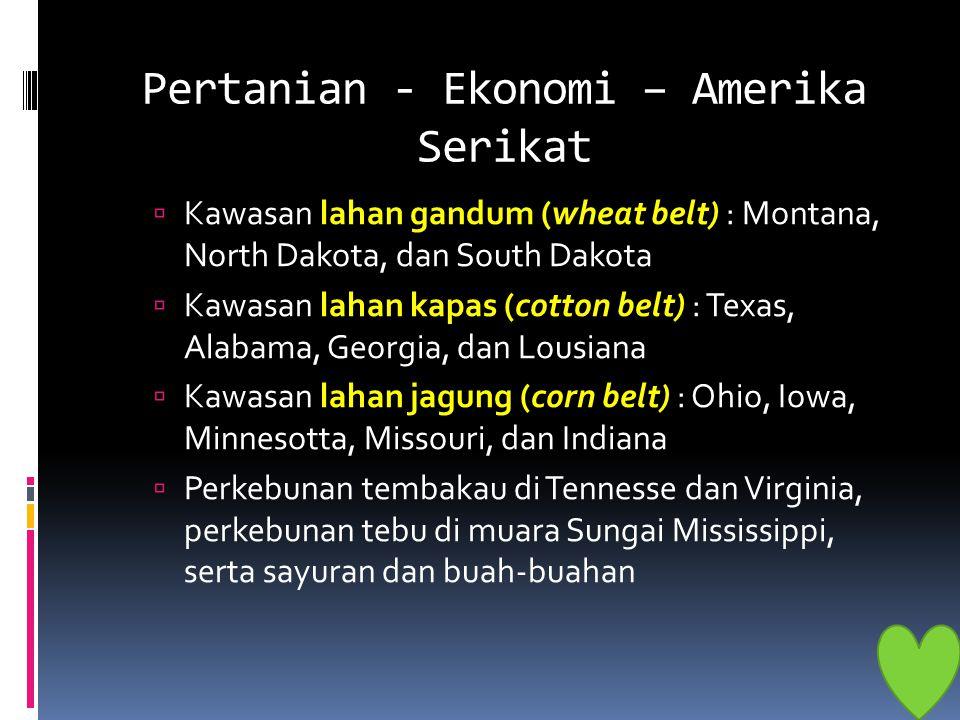 Pertanian - Ekonomi – Amerika Serikat  Kawasan lahan gandum (wheat belt) : Montana, North Dakota, dan South Dakota  Kawasan lahan kapas (cotton belt