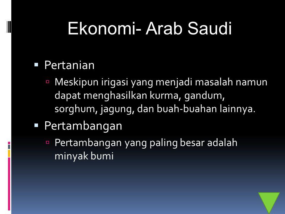 Ekonomi- Arab Saudi  Pertanian  Meskipun irigasi yang menjadi masalah namun dapat menghasilkan kurma, gandum, sorghum, jagung, dan buah-buahan lainn