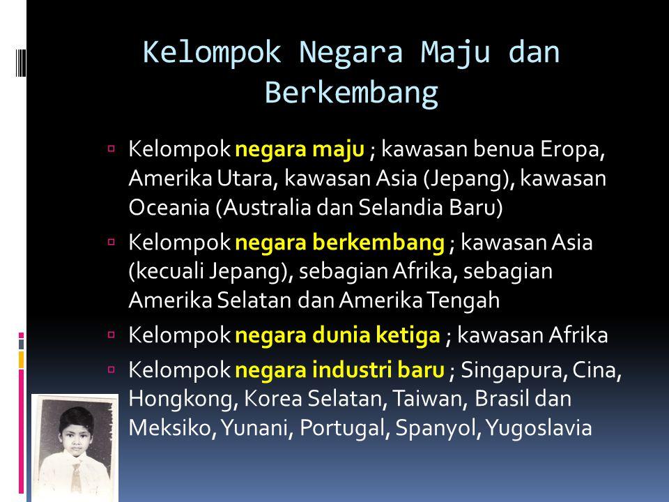 Kelompok Negara Maju dan Berkembang  Kelompok negara maju ; kawasan benua Eropa, Amerika Utara, kawasan Asia (Jepang), kawasan Oceania (Australia dan