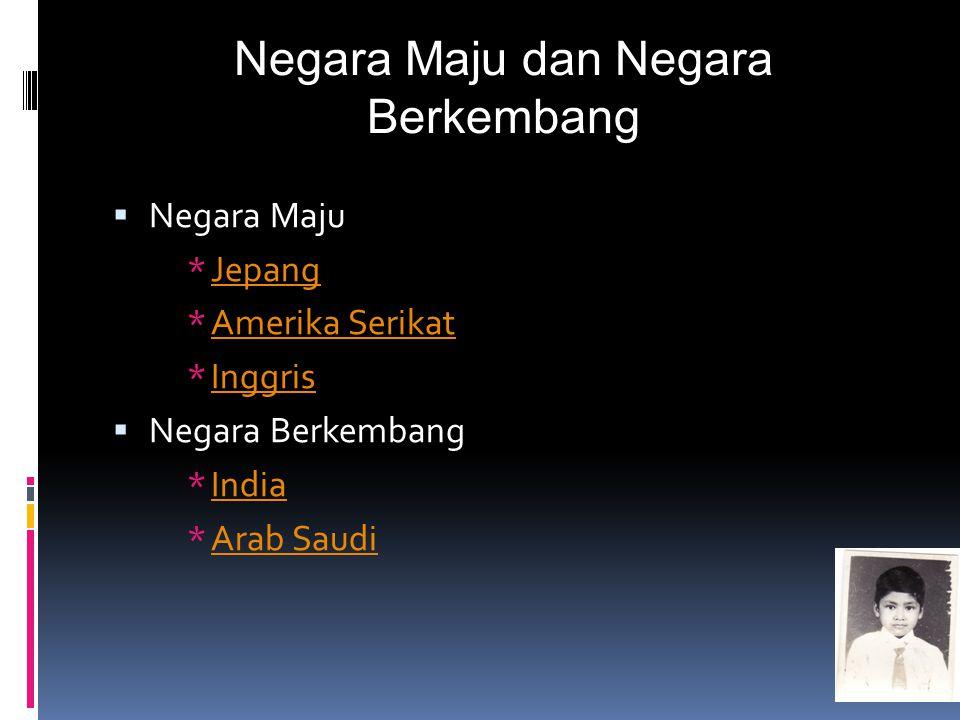 Negara Maju dan Negara Berkembang  Negara Maju *JepangJepang *Amerika SerikatAmerika Serikat *InggrisInggris  Negara Berkembang *IndiaIndia *Arab Sa
