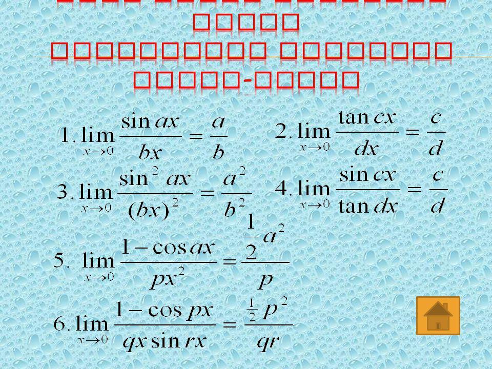 Limit fungsi trigonometri adalah limit yang mengandung sinus, cosinus dan tangens. ▫ Rumus - rumus dasar :