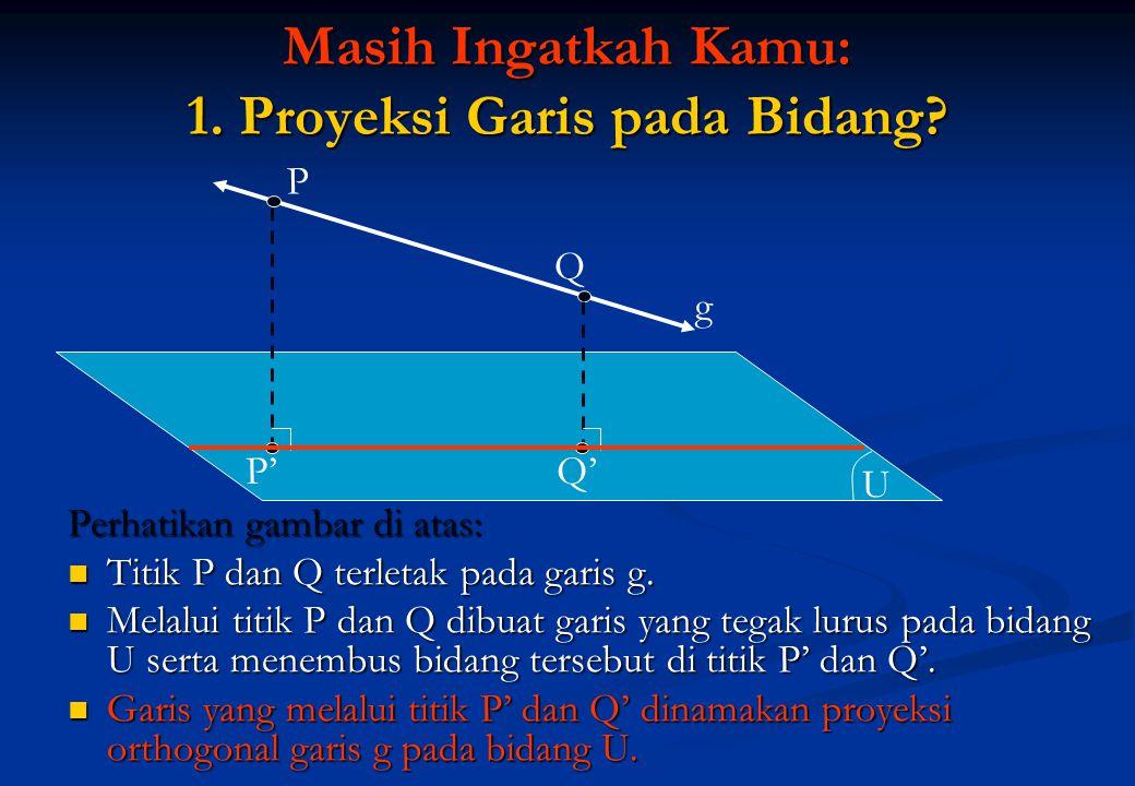 Masih Ingatkah Kamu: 1. Proyeksi Garis pada Bidang? Perhatikan gambar di atas:  Titik P dan Q terletak pada garis g.  Melalui titik P dan Q dibuat g