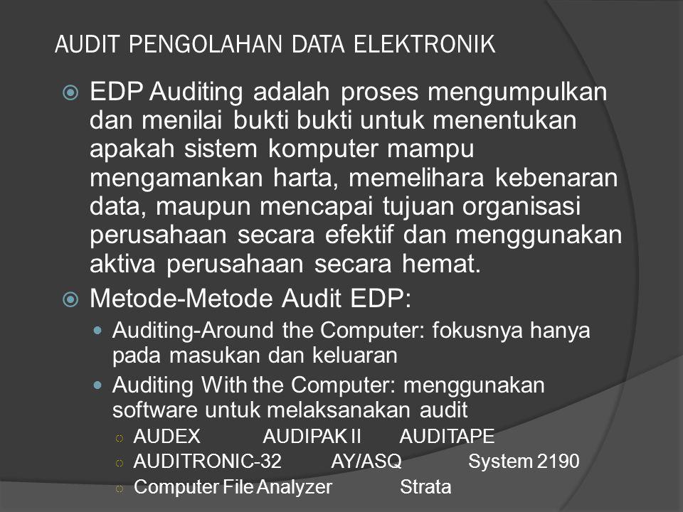 AUDIT PENGOLAHAN DATA ELEKTRONIK  EDP Auditing adalah proses mengumpulkan dan menilai bukti bukti untuk menentukan apakah sistem komputer mampu menga