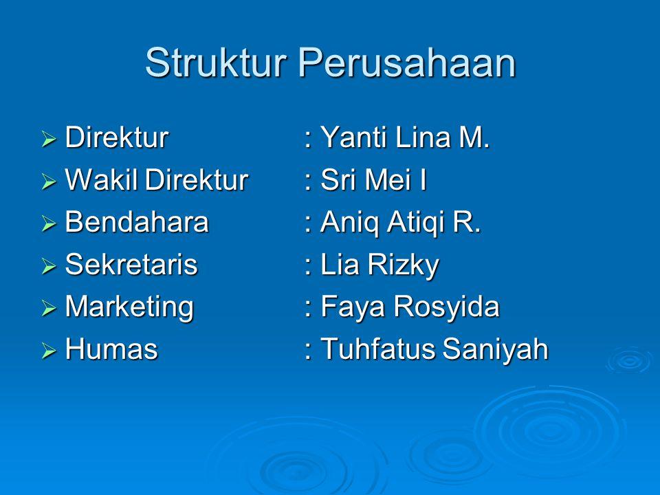 Struktur Perusahaan  Direktur : Yanti Lina M.  Wakil Direktur: Sri Mei I  Bendahara: Aniq Atiqi R.  Sekretaris: Lia Rizky  Marketing: Faya Rosyid