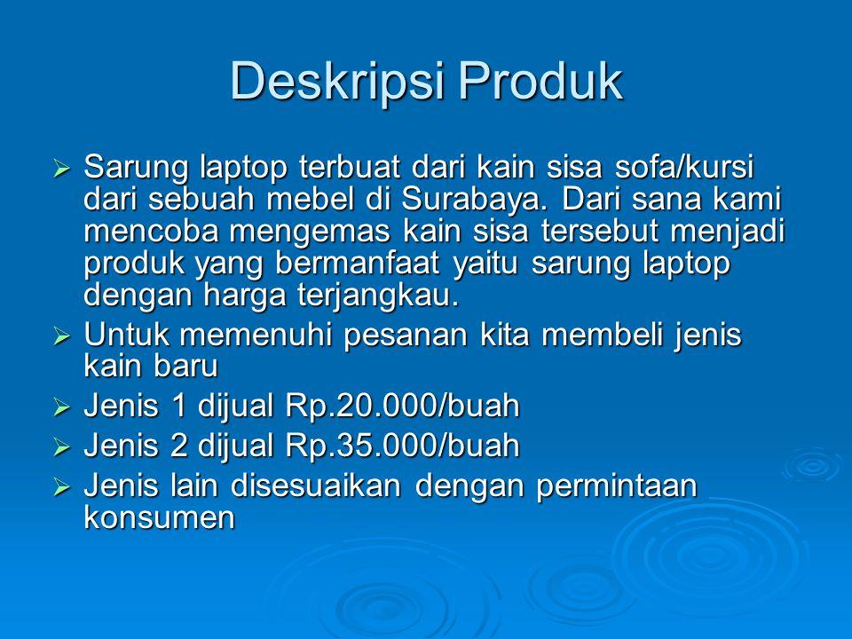 Deskripsi Produk  Sarung laptop terbuat dari kain sisa sofa/kursi dari sebuah mebel di Surabaya.