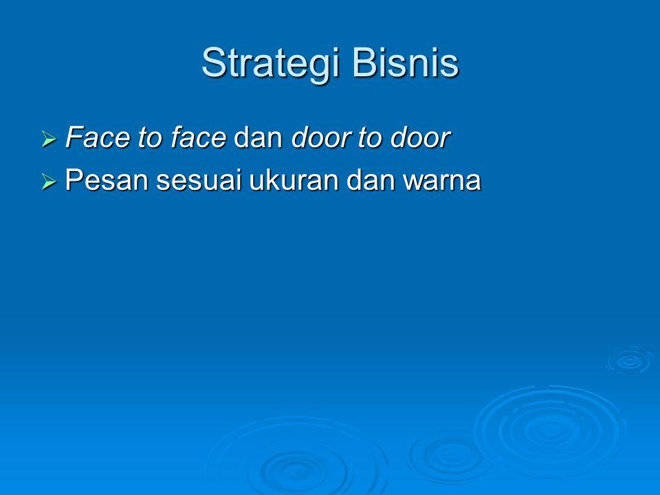 Strategi Bisnis  Face to face dan door to door  Pesan sesuai ukuran dan warna