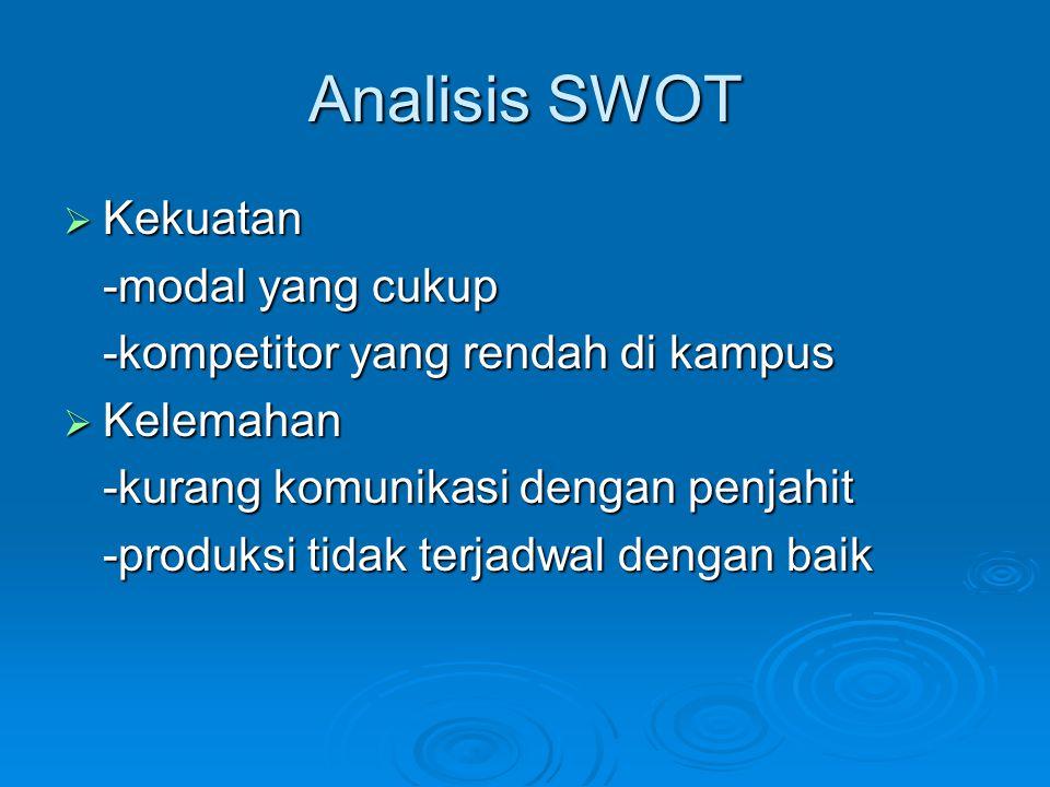 Analisis SWOT  Kekuatan -modal yang cukup -kompetitor yang rendah di kampus  Kelemahan -kurang komunikasi dengan penjahit -produksi tidak terjadwal