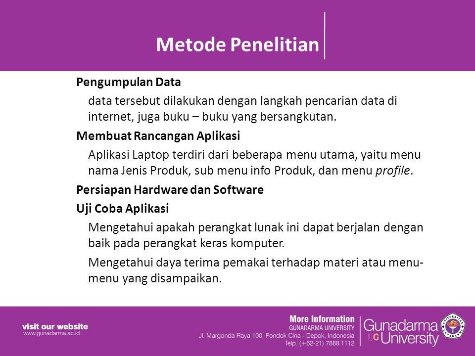 Metode Penelitian Pengumpulan Data data tersebut dilakukan dengan langkah pencarian data di internet, juga buku – buku yang bersangkutan.