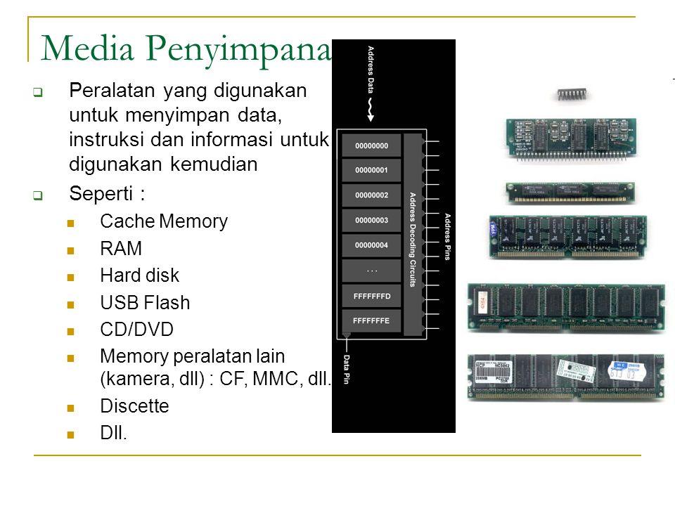 Media Penyimpanan  Peralatan yang digunakan untuk menyimpan data, instruksi dan informasi untuk digunakan kemudian  Seperti :  Cache Memory  RAM  Hard disk  USB Flash  CD/DVD  Memory peralatan lain (kamera, dll) : CF, MMC, dll.