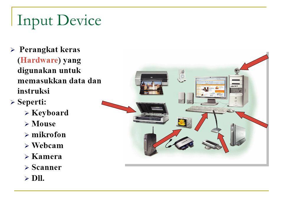 Input Device  Perangkat keras (Hardware) yang digunakan untuk memasukkan data dan instruksi  Seperti:  Keyboard  Mouse  mikrofon  Webcam  Kamera  Scanner  Dll.