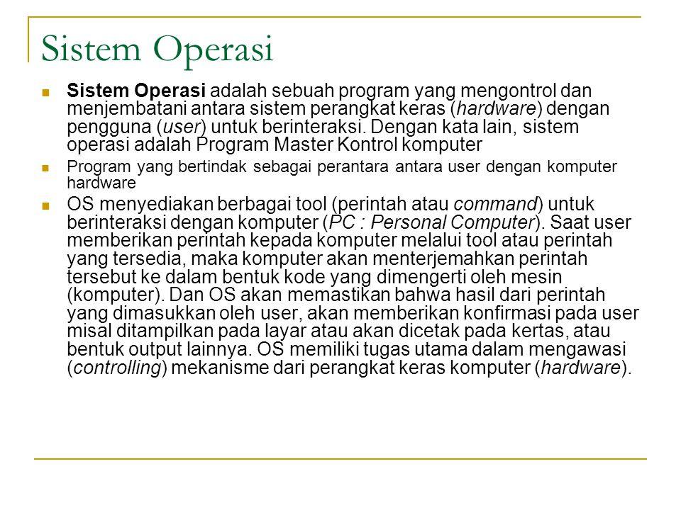 Sistem Operasi  Sistem Operasi adalah sebuah program yang mengontrol dan menjembatani antara sistem perangkat keras (hardware) dengan pengguna (user) untuk berinteraksi.