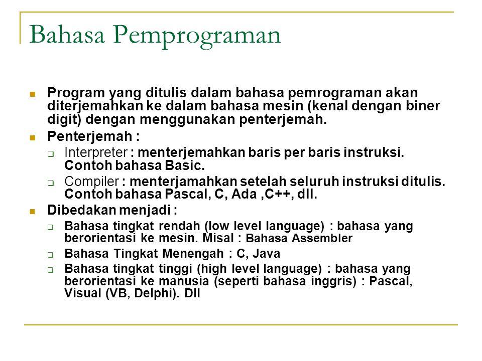 Bahasa Pemprograman  Program yang ditulis dalam bahasa pemrograman akan diterjemahkan ke dalam bahasa mesin (kenal dengan biner digit) dengan menggunakan penterjemah.