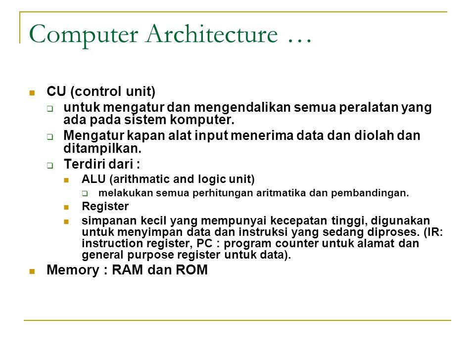 Computer Architecture …  CU (control unit)  untuk mengatur dan mengendalikan semua peralatan yang ada pada sistem komputer.