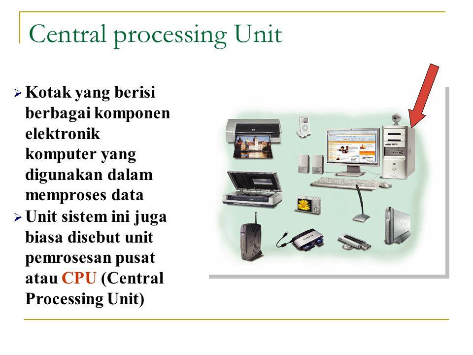 Central processing Unit  Kotak yang berisi berbagai komponen elektronik komputer yang digunakan dalam memproses data  Unit sistem ini juga biasa disebut unit pemrosesan pusat atau CPU (Central Processing Unit)