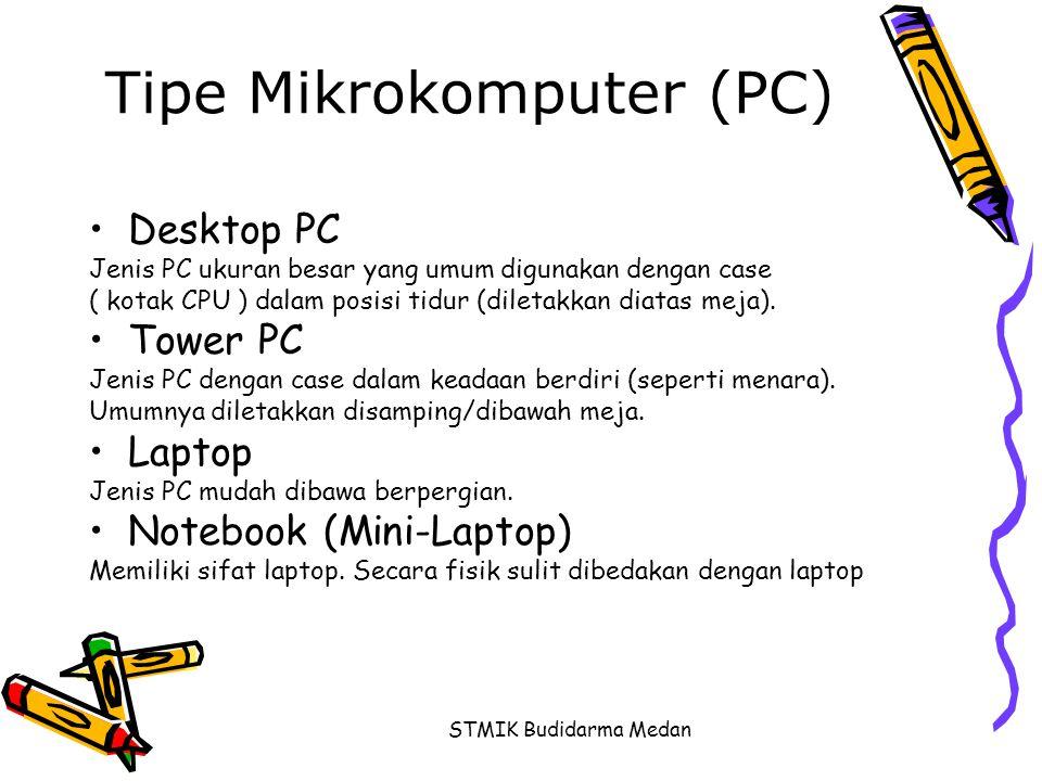 STMIK Budidarma Medan Tipe Mikrokomputer (PC) •Desktop PC Jenis PC ukuran besar yang umum digunakan dengan case ( kotak CPU ) dalam posisi tidur (dile