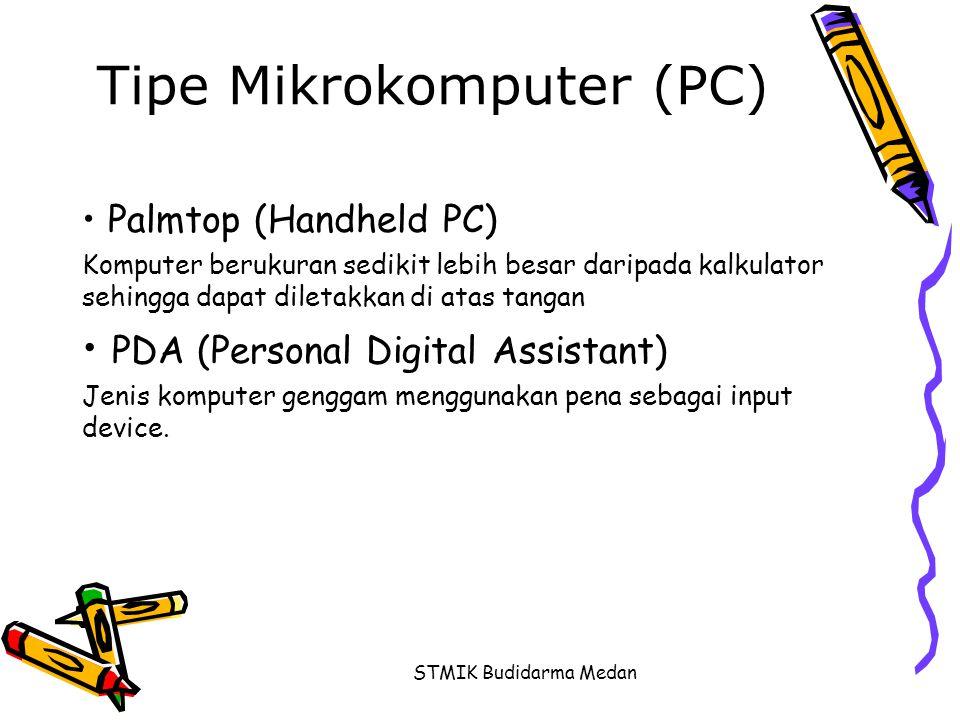 STMIK Budidarma Medan Tipe Mikrokomputer (PC) • Palmtop (Handheld PC) Komputer berukuran sedikit lebih besar daripada kalkulator sehingga dapat dileta