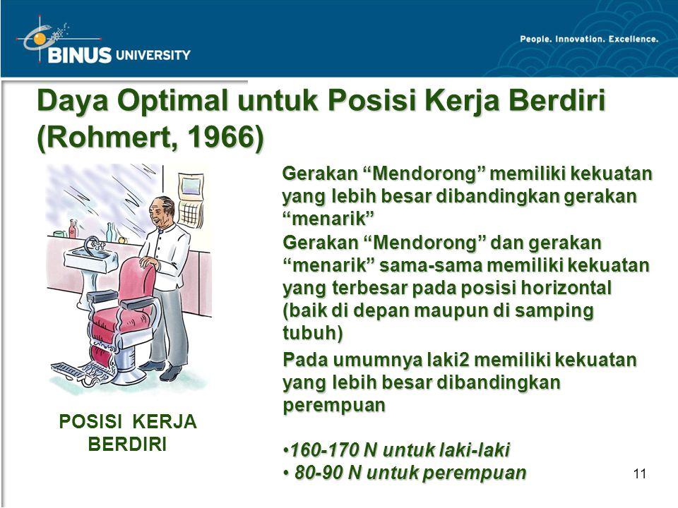 """Bina Nusantara University 11 Daya Optimal untuk Posisi Kerja Berdiri (Rohmert, 1966) Gerakan """"Mendorong"""" memiliki kekuatan yang lebih besar dibandingk"""