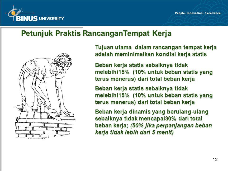 Bina Nusantara University 12 Petunjuk Praktis RancanganTempat Kerja Petunjuk Praktis RancanganTempat Kerja Tujuan utama dalam rancangan tempat kerja a