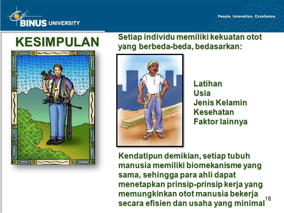 Bina Nusantara University 16 KESIMPULAN Setiap individu memiliki kekuatan otot yang berbeda-beda, bedasarkan: LatihanUsia Jenis Kelamin Kesehatan Fakt