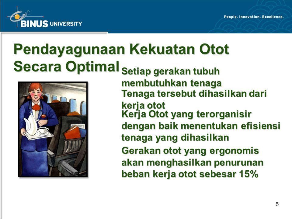 Bina Nusantara University 5 Pendayagunaan Kekuatan Otot Secara Optimal Setiap gerakan tubuh membutuhkan tenaga Tenaga tersebut dihasilkan dari kerja o