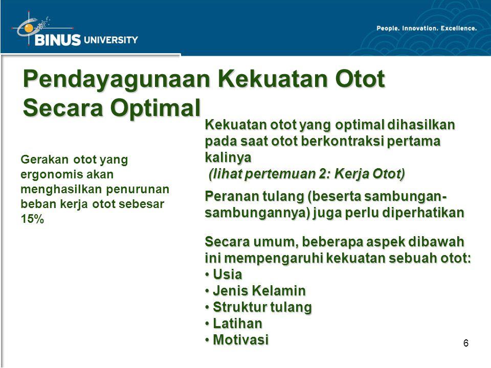 Bina Nusantara University 6 Pendayagunaan Kekuatan Otot Secara Optimal Kekuatan otot yang optimal dihasilkan pada saat otot berkontraksi pertama kalin