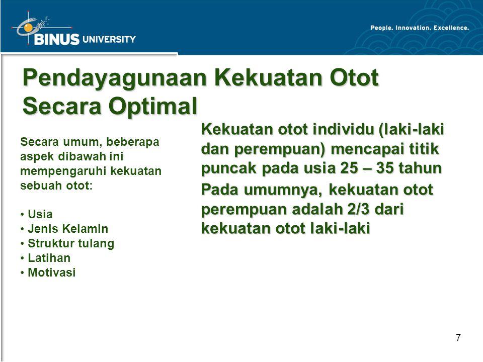 Bina Nusantara University 7 Pendayagunaan Kekuatan Otot Secara Optimal Kekuatan otot individu (laki-laki dan perempuan) mencapai titik puncak pada usi