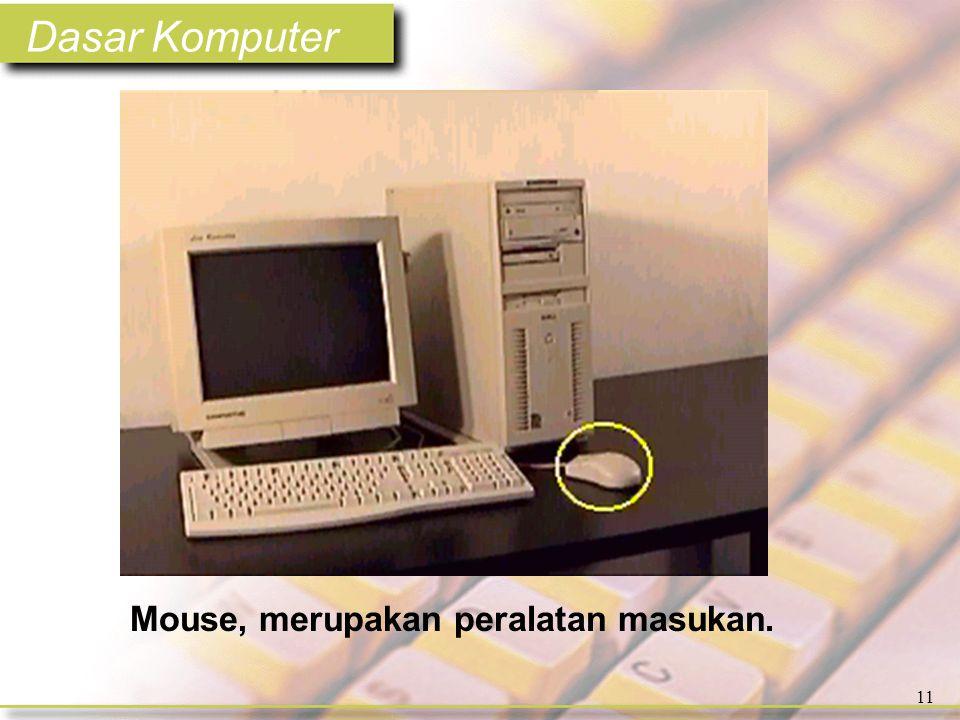 Dasar Komputer 11 Mouse, merupakan peralatan masukan.