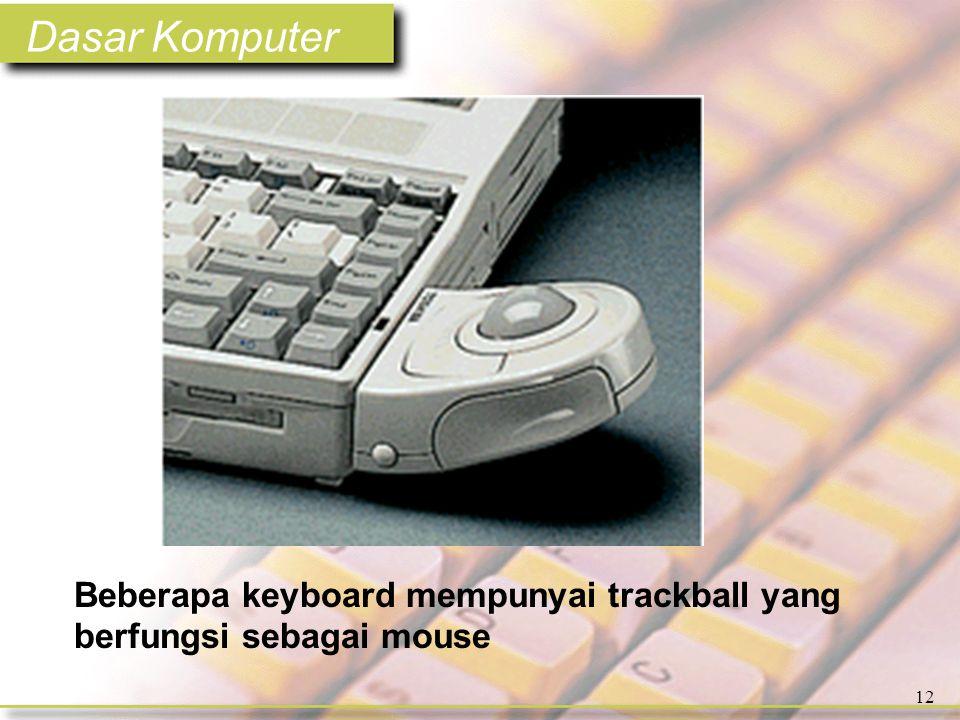 Dasar Komputer 12 Beberapa keyboard mempunyai trackball yang berfungsi sebagai mouse