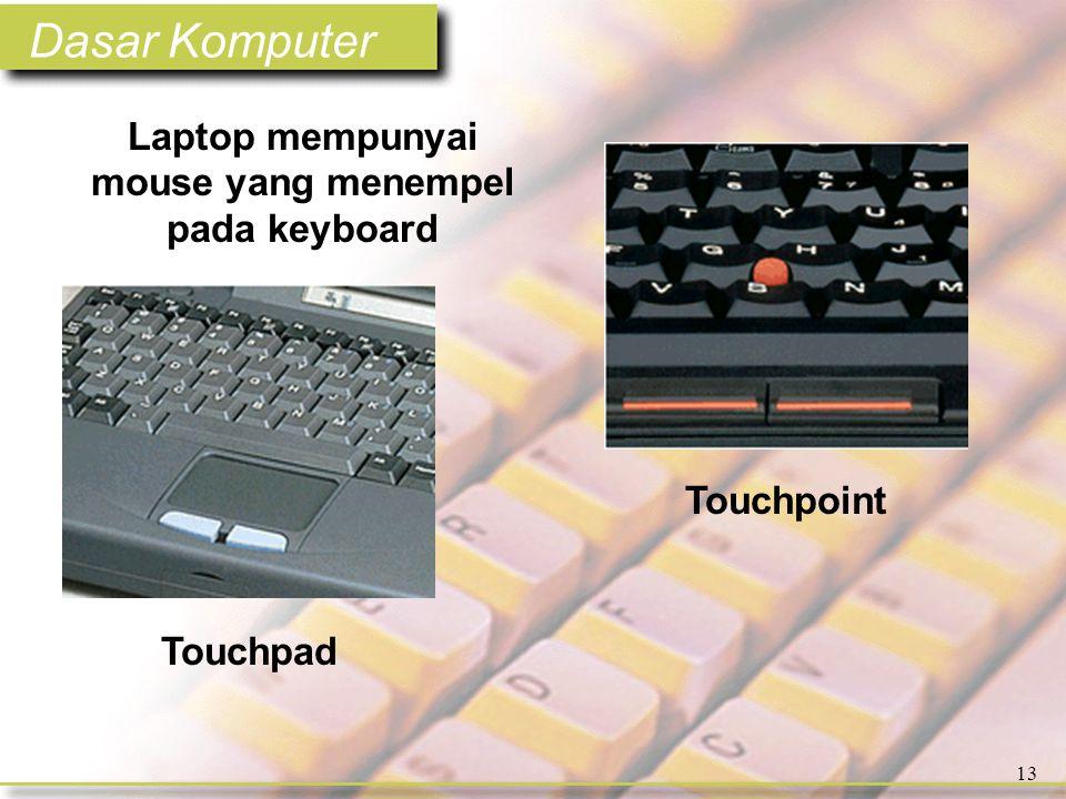 Dasar Komputer 13 Laptop mempunyai mouse yang menempel pada keyboard Touchpad Touchpoint
