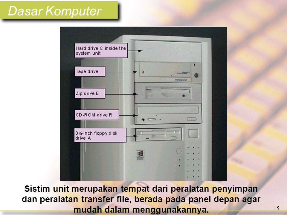 Dasar Komputer 15 Sistim unit merupakan tempat dari peralatan penyimpan dan peralatan transfer file, berada pada panel depan agar mudah dalam menggunakannya.