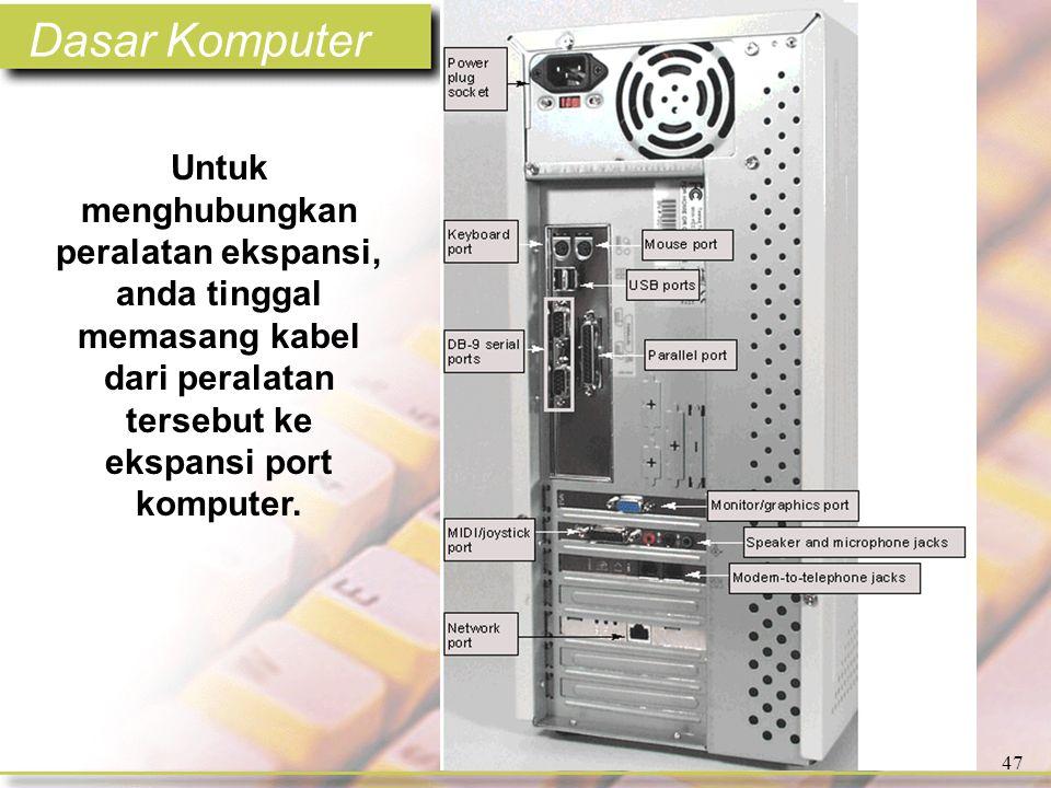 Dasar Komputer 47 Untuk menghubungkan peralatan ekspansi, anda tinggal memasang kabel dari peralatan tersebut ke ekspansi port komputer.