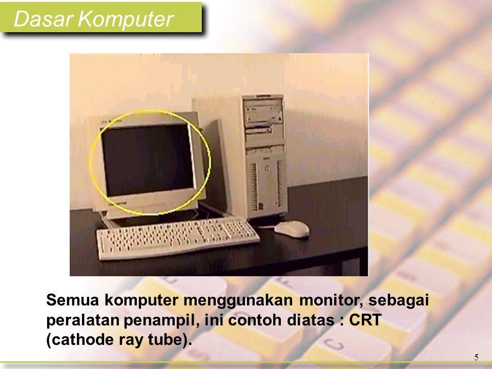 Dasar Komputer 6 Layar datar LCD (liquid crystal display) merupakan salah satu tipe monitor.