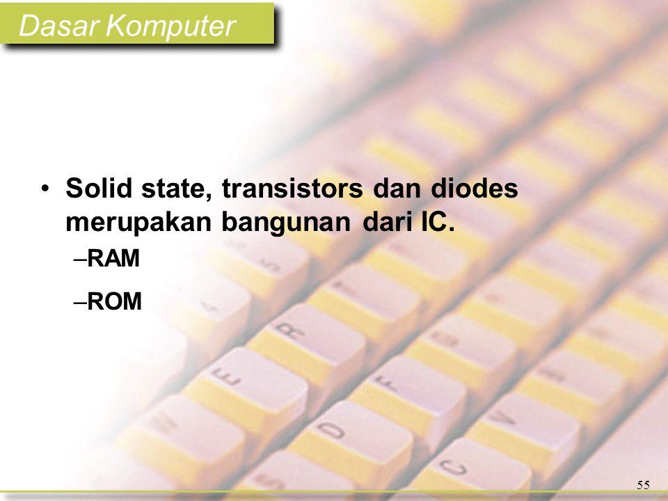 Dasar Komputer 55 •Solid state, transistors dan diodes merupakan bangunan dari IC. –RAM –ROM