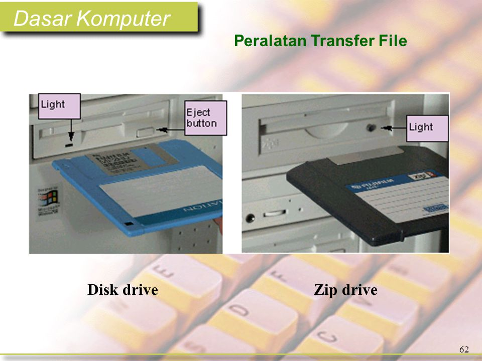 Dasar Komputer 62 Peralatan Transfer File Disk driveZip drive