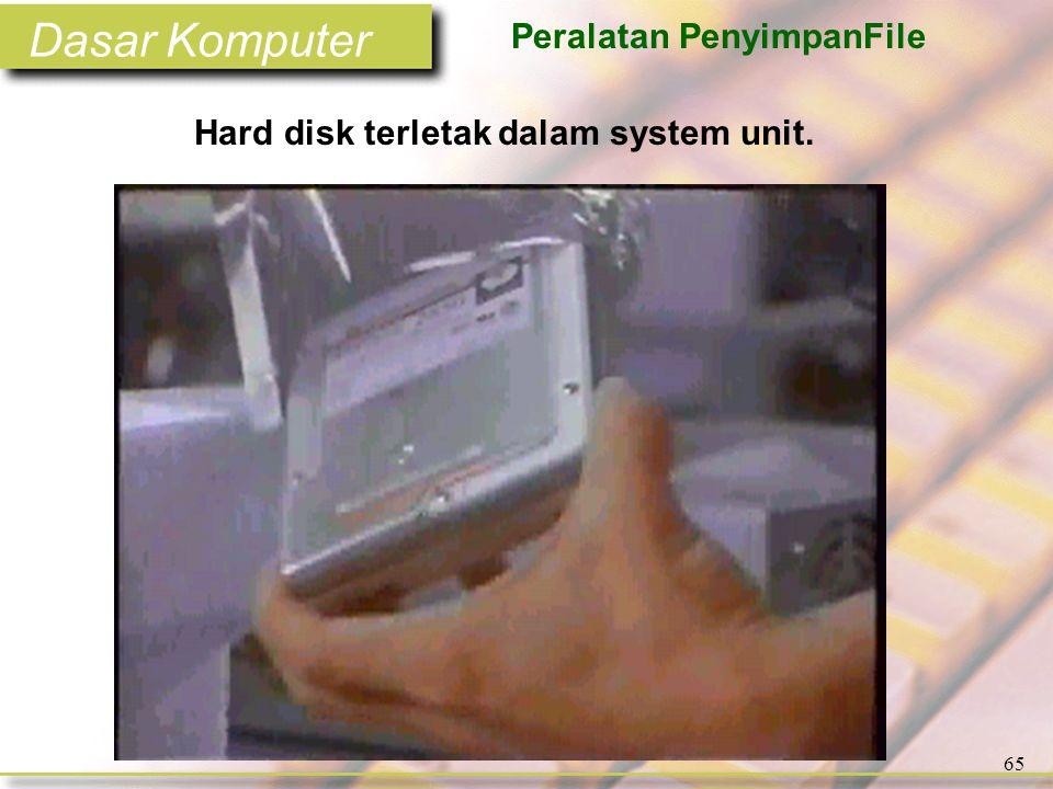Dasar Komputer 65 Hard disk terletak dalam system unit. Peralatan PenyimpanFile