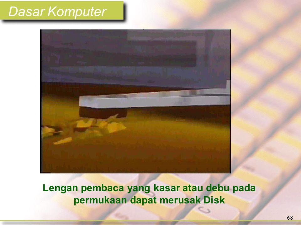 Dasar Komputer 68 Lengan pembaca yang kasar atau debu pada permukaan dapat merusak Disk