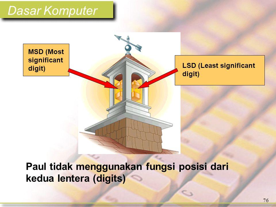 Dasar Komputer 76 LSD (Least significant digit) MSD (Most significant digit) Paul tidak menggunakan fungsi posisi dari kedua lentera (digits)
