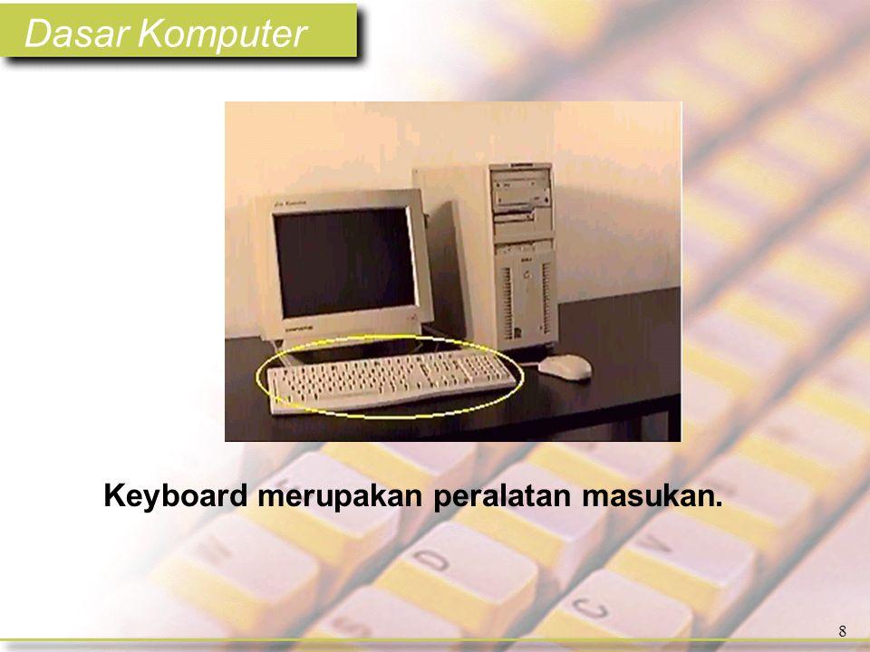Dasar Komputer 39 Ekspansi card mudah dipasang atau dimasukkan dalam slot. Video card