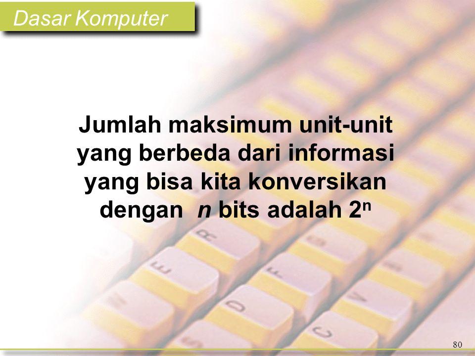 Dasar Komputer 80 Jumlah maksimum unit-unit yang berbeda dari informasi yang bisa kita konversikan dengan n bits adalah 2 n