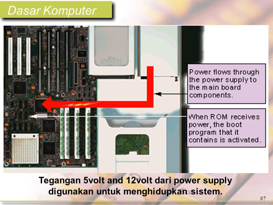 Dasar Komputer 87 Tegangan 5volt and 12volt dari power supply digunakan untuk menghidupkan sistem.