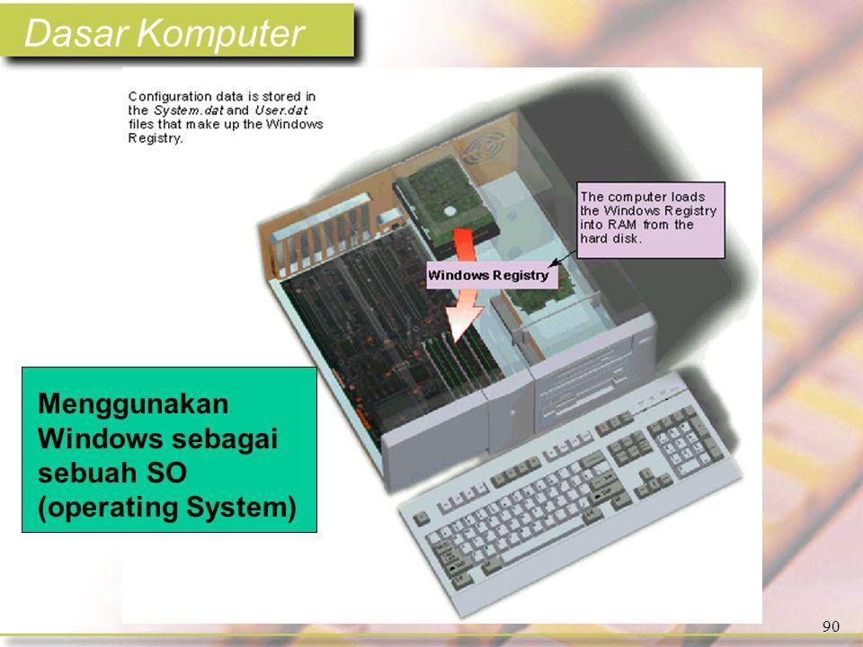 Dasar Komputer 90 Menggunakan Windows sebagai sebuah SO (operating System)