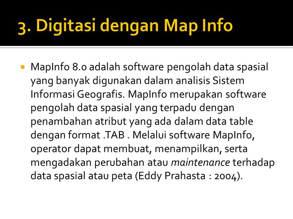  MapInfo 8.0 adalah software pengolah data spasial yang banyak digunakan dalam analisis Sistem Informasi Geografis. MapInfo merupakan software pengol