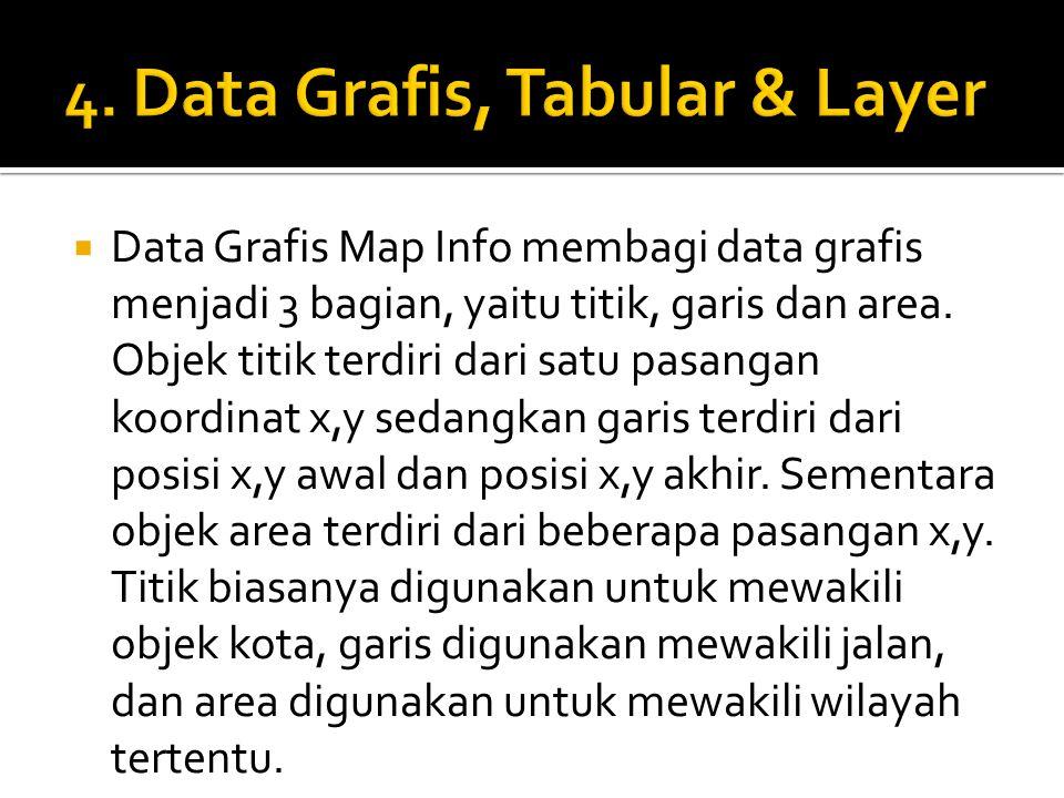 Data Grafis Map Info membagi data grafis menjadi 3 bagian, yaitu titik, garis dan area. Objek titik terdiri dari satu pasangan koordinat x,y sedangk