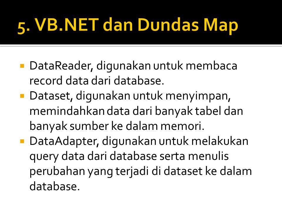  DataReader, digunakan untuk membaca record data dari database.  Dataset, digunakan untuk menyimpan, memindahkan data dari banyak tabel dan banyak s