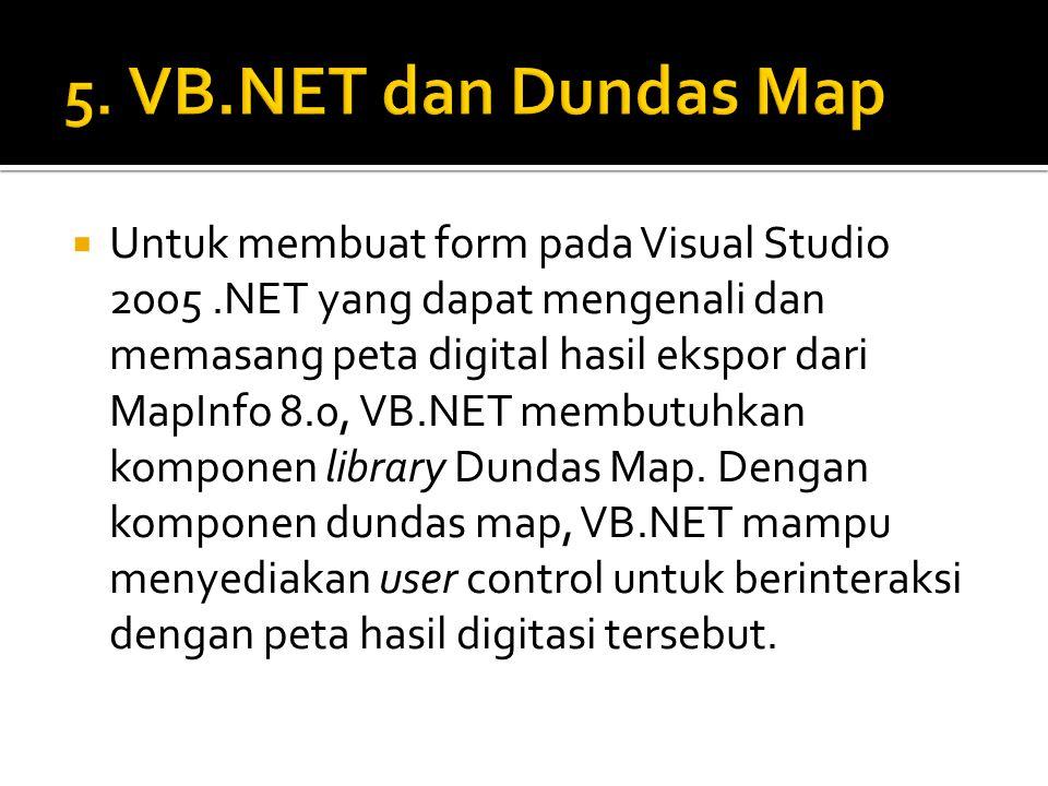  Untuk membuat form pada Visual Studio 2005.NET yang dapat mengenali dan memasang peta digital hasil ekspor dari MapInfo 8.0, VB.NET membutuhkan komp