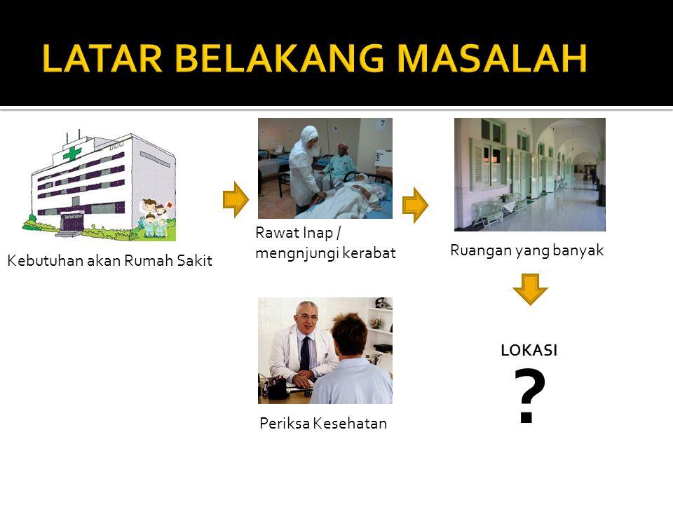 Kebutuhan akan Rumah Sakit Rawat Inap / mengnjungi kerabat Periksa Kesehatan Ruangan yang banyak LOKASI ?