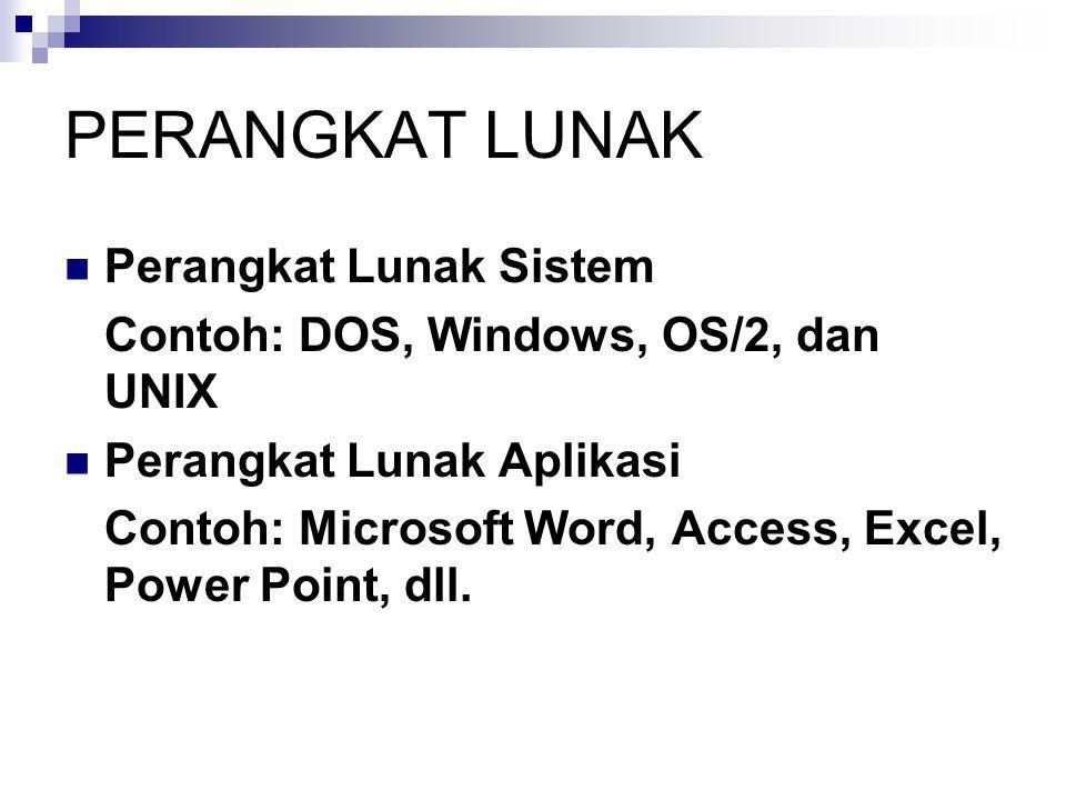 PERANGKAT LUNAK  Perangkat Lunak Sistem Contoh: DOS, Windows, OS/2, dan UNIX  Perangkat Lunak Aplikasi Contoh: Microsoft Word, Access, Excel, Power