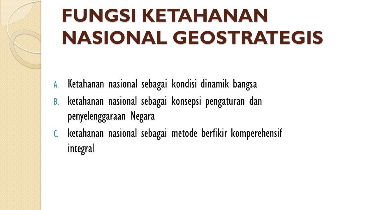 FUNGSI KETAHANAN NASIONAL GEOSTRATEGIS A. Ketahanan nasional sebagai kondisi dinamik bangsa B. ketahanan nasional sebagai konsepsi pengaturan dan peny