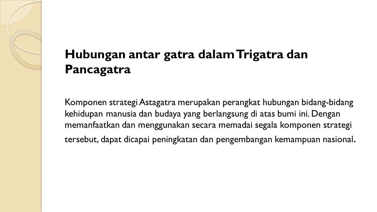 Hubungan antar gatra dalam Trigatra dan Pancagatra Komponen strategi Astagatra merupakan perangkat hubungan bidang-bidang kehidupan manusia dan budaya